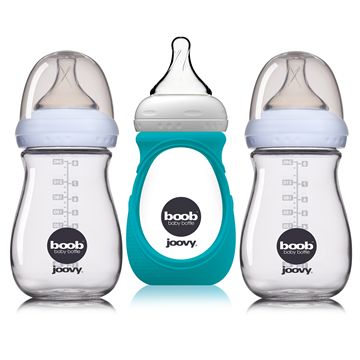 3-Pack Boob 8oz. Glass Bottle