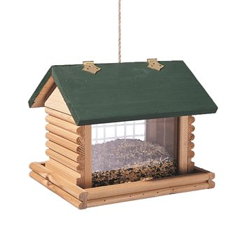 Large Hanging Log Cabin Birdfeeder