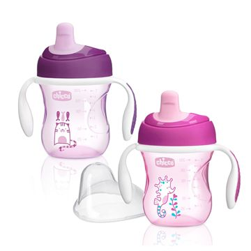 NaturalFit® 2pk Semi-soft Spout Trainer Cup 7oz Girl 6M+