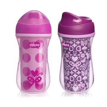 NaturalFit® 2pk Insulated Rim Spout Trainer 9oz Girl 12M+
